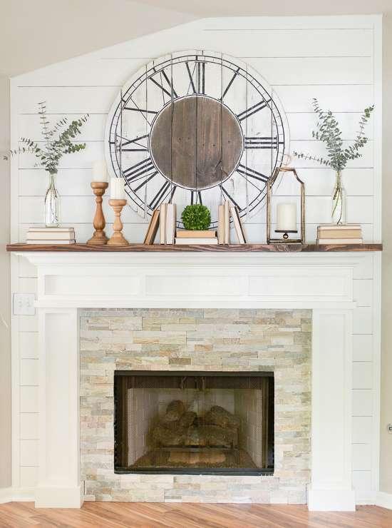 farmhouse spring mantel / spring mantel decorating