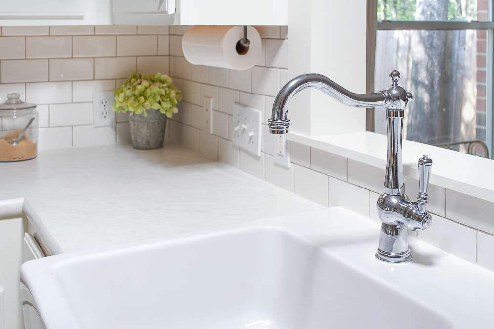 farmhouse sink polished chrome faucet