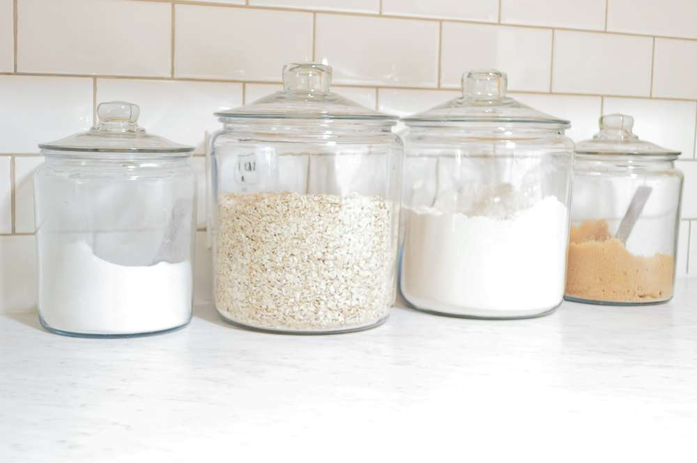 farmhouse style glass storage jars