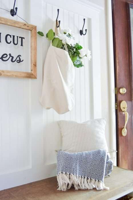 summer porch and entryway tour mudroom pillow
