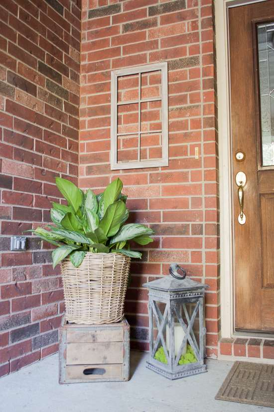summer porch and entryway tour Chinese evergreen in basket