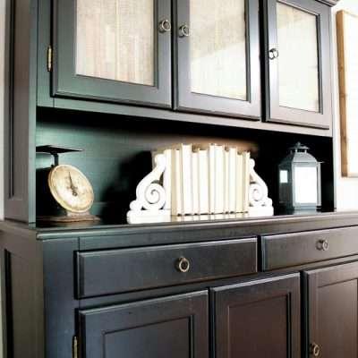 DIY Burlap Cabinet Door Curtains