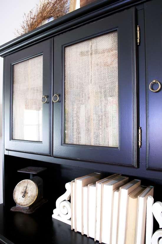 burlap cabinet door curtains
