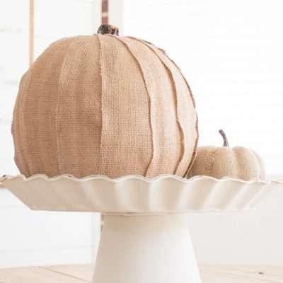 Cute and Easy Burlap Covered Pumpkin