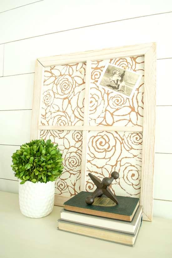 Stenciled Framed Cork Board