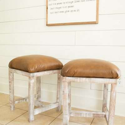 How to Make Farmhouse Leather Footstools